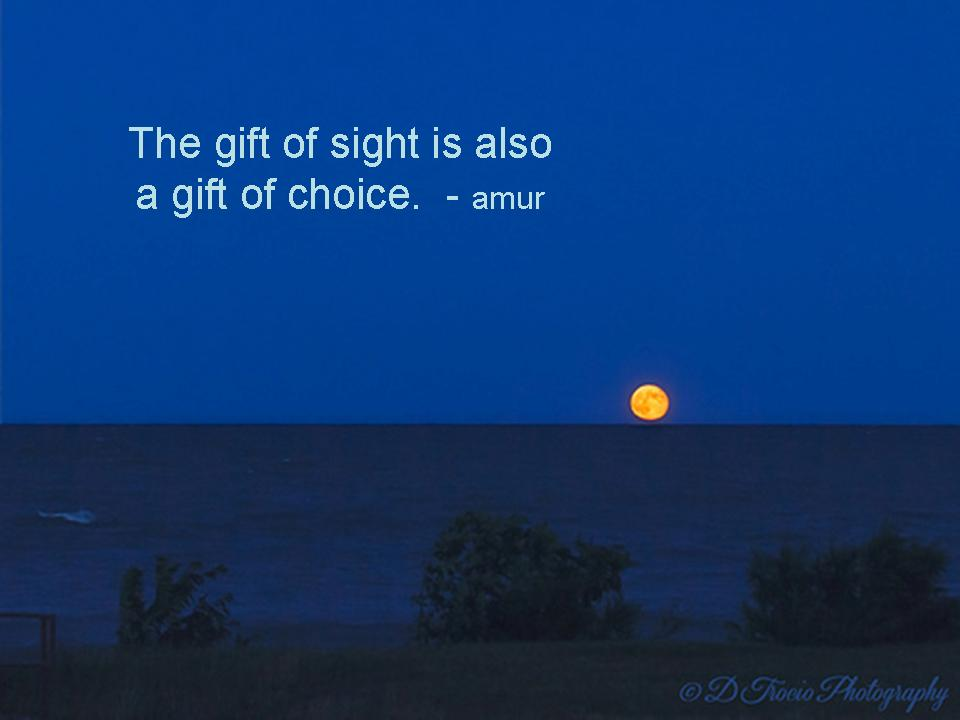 The gift of sight is also a gift of choice
